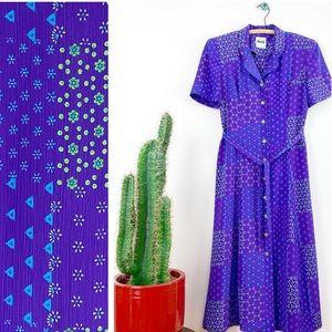 VTG 90s Leslie Faye Floral Patchwork Maxi Dress